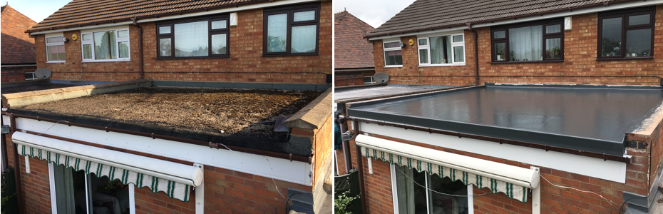 Before & after of a recently completed roof